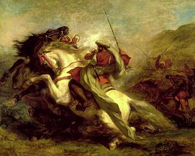 Poster featuring the painting Collision Of Moorish Horsemen by Eugene Delacroix
