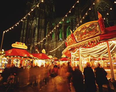 Cologne Cathedral And Christmas Market Poster by Axiom Photographic