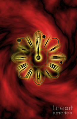 Conceptual Illustration Of Atomic Clock Poster by George Mattei