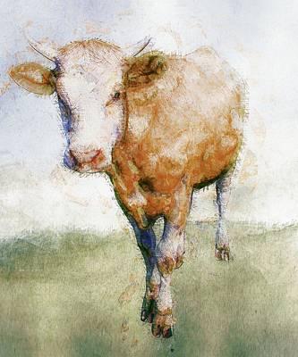 Cow Poster by Elena Kosvincheva