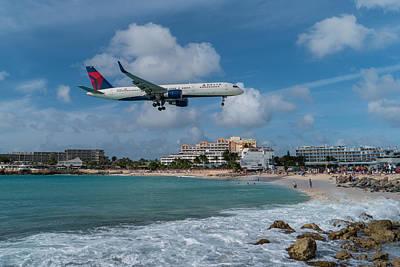 Delta Air Lines Landing At St. Maarten Poster by David Gleeson