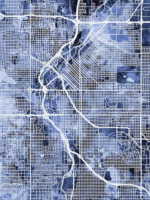 Denver Colorado Street Map Poster by Michael Tompsett