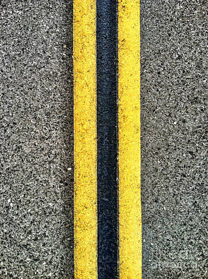 Double Yellow Road Lines Poster