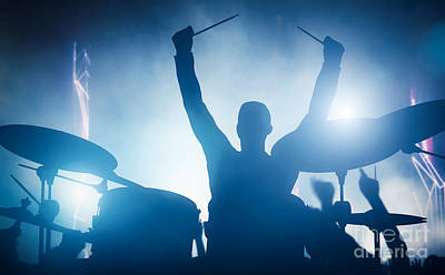 Drummer Playing On Drums On Music Concert. Club Lights Poster
