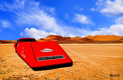 Dry Lake Hot Rod Racecar Poster by Jake Steele