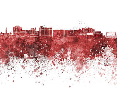 Duluth Skyline In Watercolor Background Poster by Pablo Romero