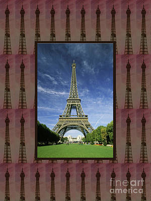 Poster featuring the photograph Effel Tower Paris France Landmark Photography Towels Pillows Curtains Tote Bags by Navin Joshi
