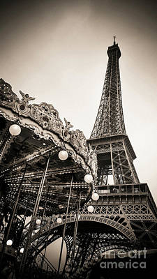 Eiffel Tower And Carousel. France. Europe. Poster