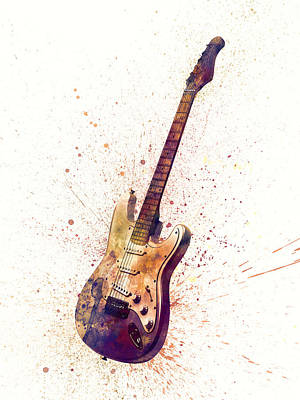 Electric Guitar Abstract Watercolor Poster by Michael Tompsett