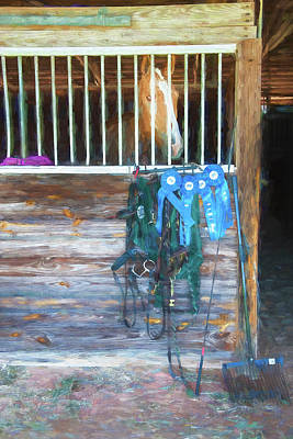 Equestrian Event Rocking Horse Stables Painted  Poster