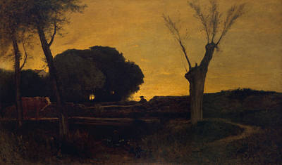 Evening At Medfield, Massachusetts Poster by George Inness