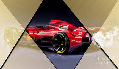 Ferrari F1 Collection Poster by Marvin Blaine