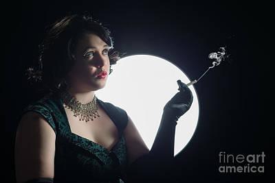 Film Noir Smoking Woman Poster by Amanda Elwell