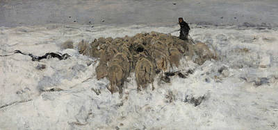Flock Of Sheep With Shepherd In The Snow Poster