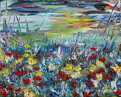 Poster featuring the painting Flower Field by Teresa Wegrzyn