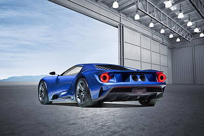 Poster featuring the digital art Ford Gt by Peter Chilelli