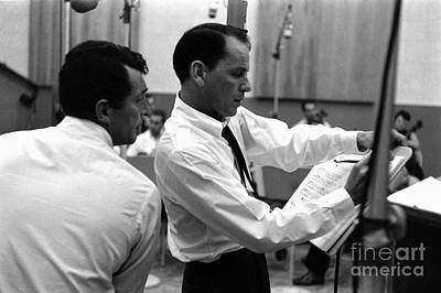 Frank Sinatra And Dean Martin At Capitol Records Studios 1958. Poster by The Titanic Project