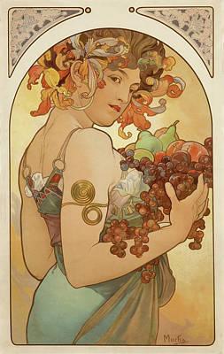 Fruit Poster by Alphonse Mucha