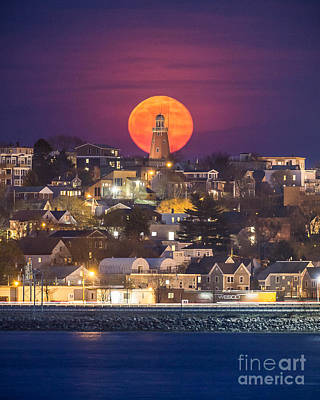 Full Moon Behind The Portland Observatory Poster