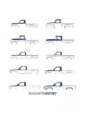 Fullsize Pickup Silhouettehistory Poster by Balazs Iker
