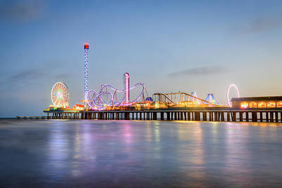 Galveston Pleasure Pier Sunset Poster