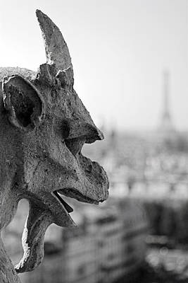Gargoyle Guarding The Notre Dame Basilica In Paris Poster by Pierre Leclerc Photography