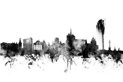 Geneva Switzerland Skyline Poster by Michael Tompsett