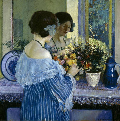 Girl In Blue Arranging Flowers Poster by Frederick Carl Frieseke