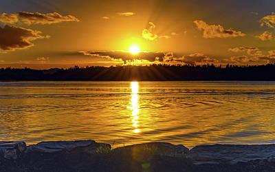 Golden Sunrise Waterscape Poster