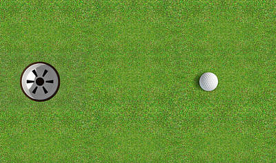 Golf Hole With Ball Approaching Poster