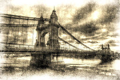 Hammersmith Bridge London Vintage Poster