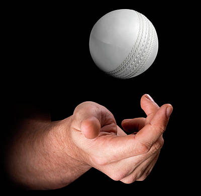 Hand Tossing Cricket Ball Poster