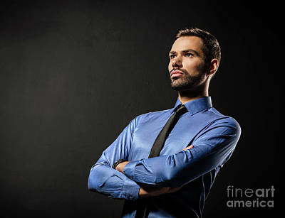 Handsome Young Businessman Standing Confident On Black Poster