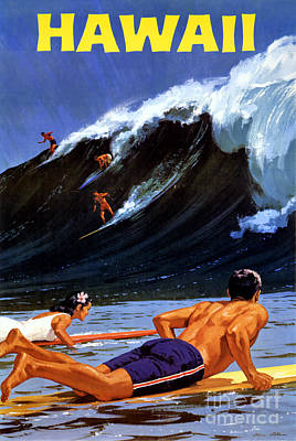 Hawaii Vintage Travel Poster Restored Poster