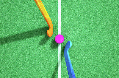 Hockey Stick And Ball Poster by Allan Swart