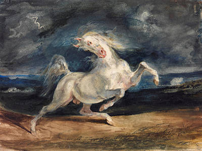Horse Frightened By Lightning Poster by Eugene Delacroix