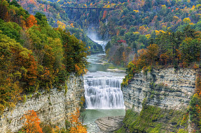 Hot Air Balloon Over The Middle Falls At Letchworth State Park Poster