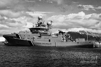 icelandic coast guard vessels thor and tyr docked in Reykjavik iceland Poster by Joe Fox