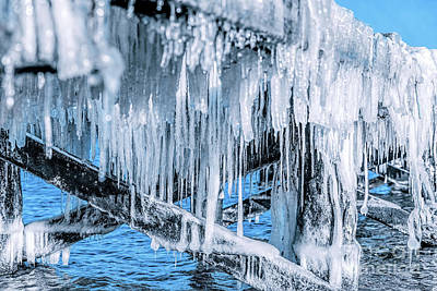 Icicle Hanging Under Jetty Roof. Ice, Winter. Poster by Michal Bednarek