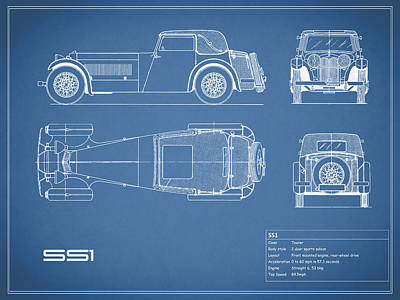 Jaguar Ss1 Blueprint Poster