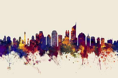 Jakarta Skyline Indonesia Poster by Michael Tompsett