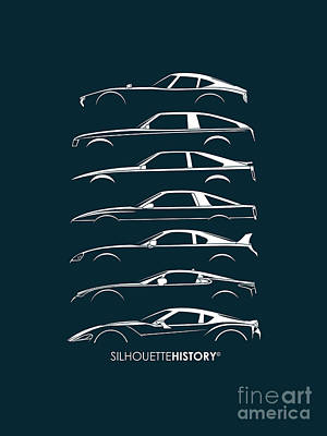Japanese Sports Car Silhouettehistory Poster