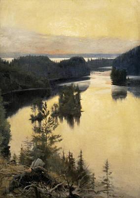 Kaukola Ridge At Sunset Poster by Albert Edelfelt