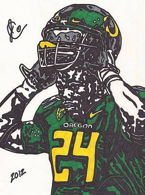 Poster featuring the drawing Kenjon Barner 1 by Jeremiah Colley