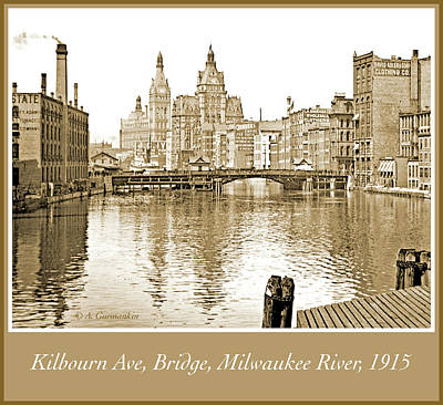 Kilbourn Avenue Bridge, Milwaukee River, C.1915, Vintage Photogr Poster