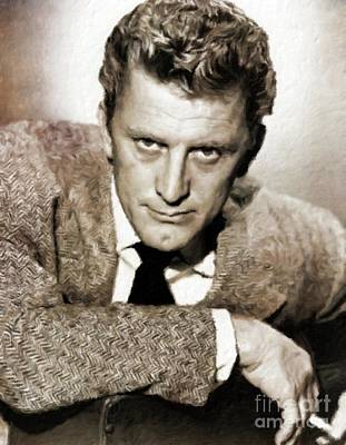 Kirk Douglas Hollywood Actor Poster by Mary Bassett