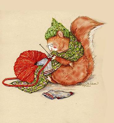 Knitting Squirrel Poster by Peggy Wilson