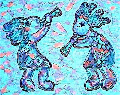 2 Kokopellis In Turquoise Poster