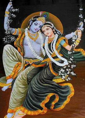 Krishna Radha On Silk Poster