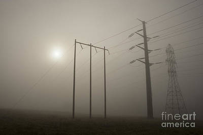 Large Transmission Towers In Fog Poster